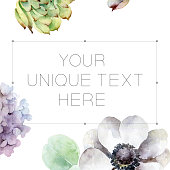 Composition with space for text with anemones and hydrangeas. Watercolor illustration