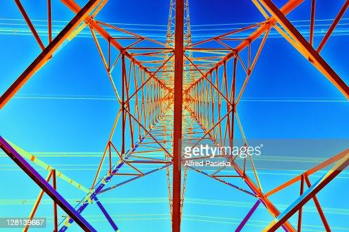 High Voltage Computer : Computer artwork of high voltage power lines stock