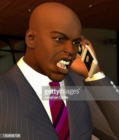 Computer generated illustration of a businessman shouting on his mobile phone : ストックイラストレーション