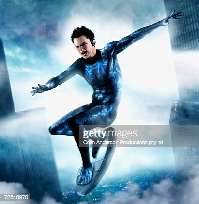 Computer generated image of male super hero flying though air on board : Stock Illustration