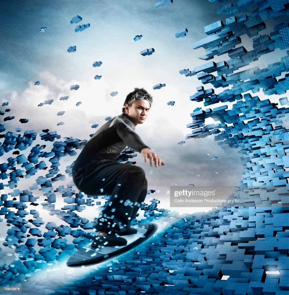 Computer generated image of man surfing technology wave : Stock Illustration