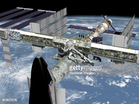 Computer generated image of the International Space Station. : Stock Illustration
