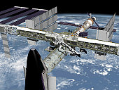 December 2003 - Post 10A close up view of the Shuttle docked to Node 2 of the International Space Station.