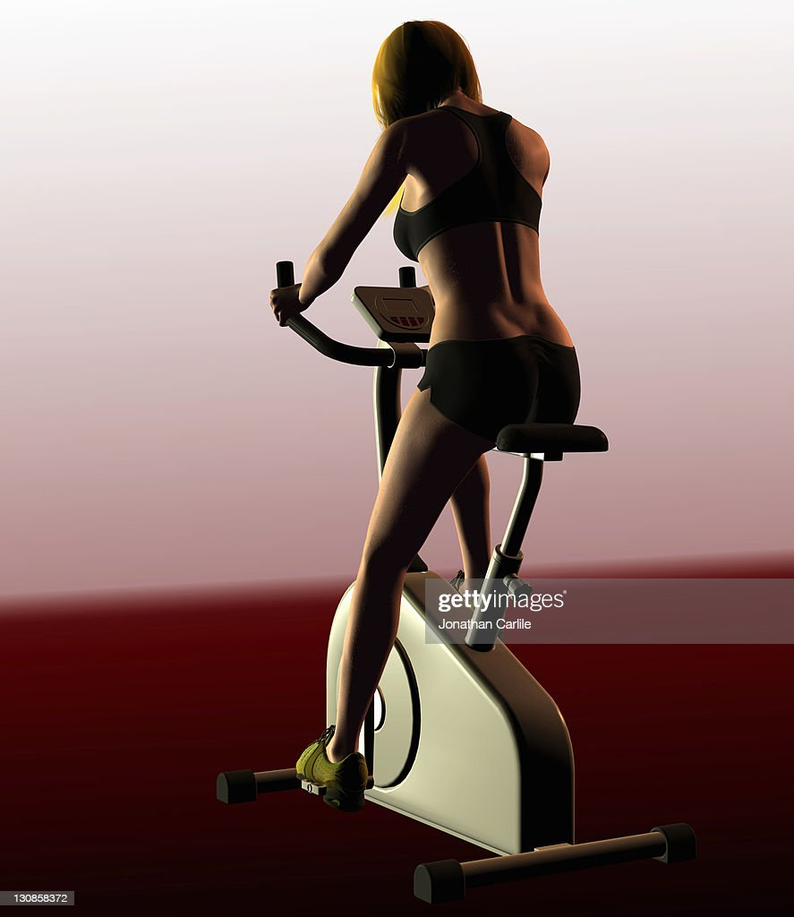 Computer illustration of a woman on an exercise bike : Stock Illustration
