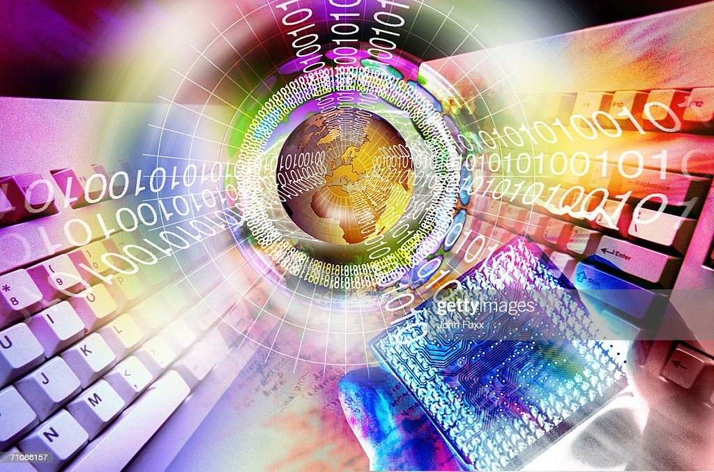 Computer key and globe surrounded by binary number (Digitally Generated) : Stock Illustration