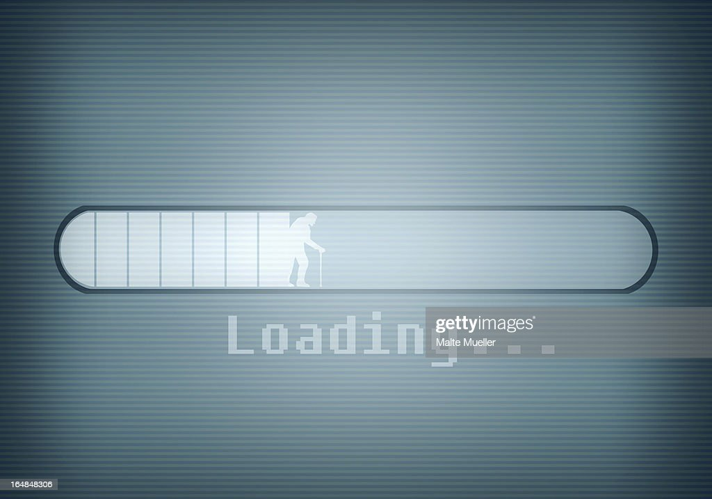 A computer message showing a loading bar and a silhouetted older man walking with cane : Stock Illustration