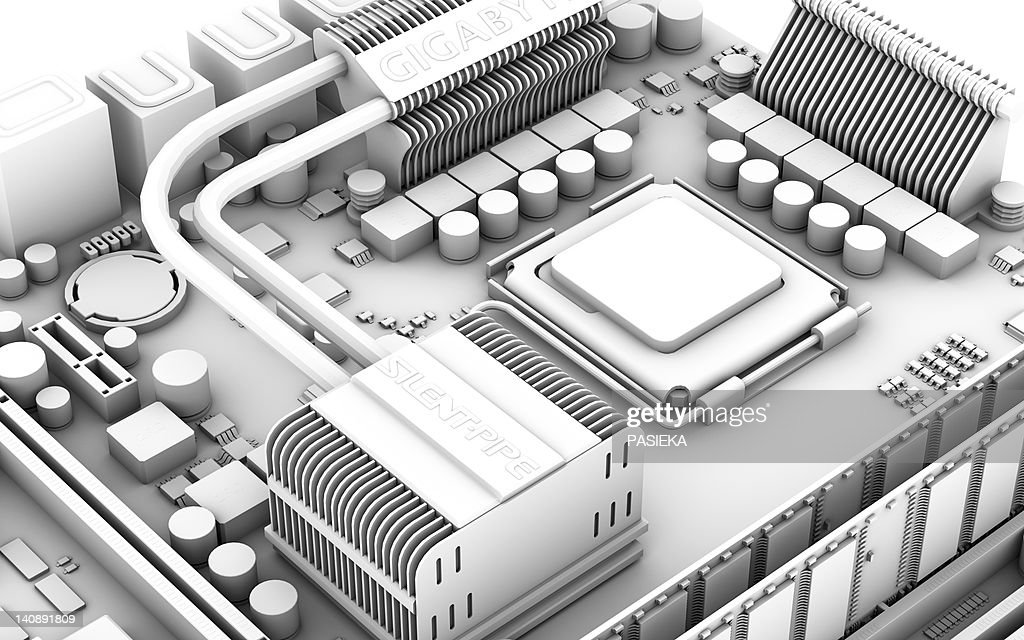 Computer motherboard, artwork : Stock Illustration