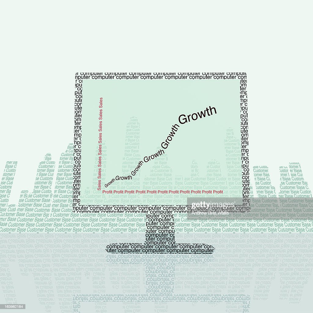 Computer shows sales chart against a cityscape : Stock Illustration