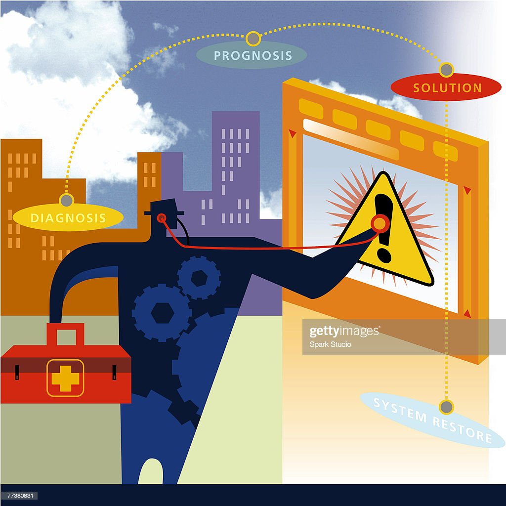 A computer support technician working on a crashed system : Stock Illustration