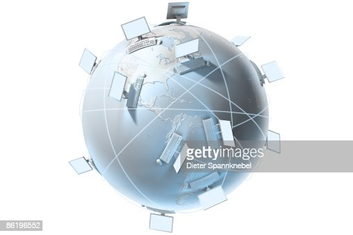 Computers on a globe with beams of light : Stock Illustration