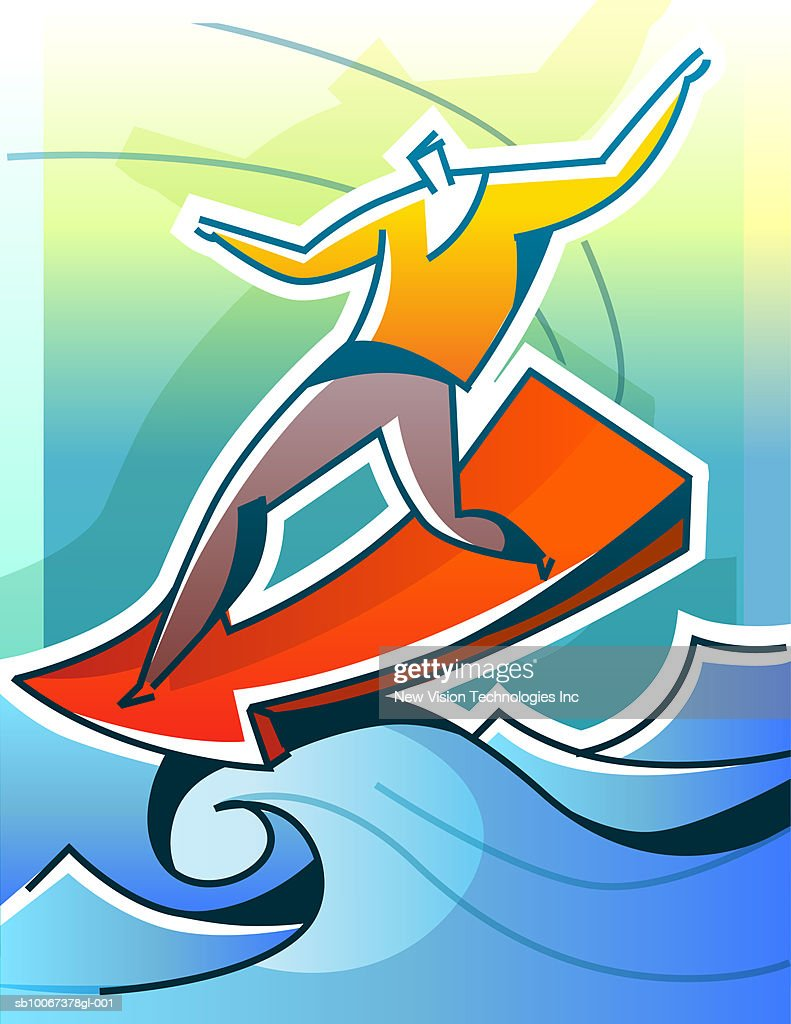 Conceptual image of man riding wave of success : Stock Illustration