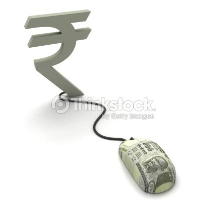 Conceptual Image Of Mouse Connecting To Indian Rupee Symbol Stock