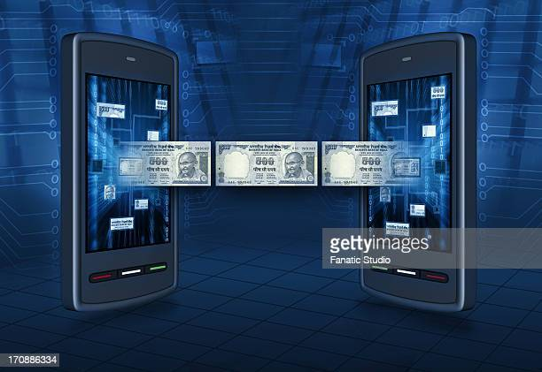 Conceptual shot of instant money transfer through mobile banking