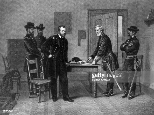 Confederate General Robert E Lee surrending to the Union General Ulysses S Grant at the Appomattox court house in Virginia