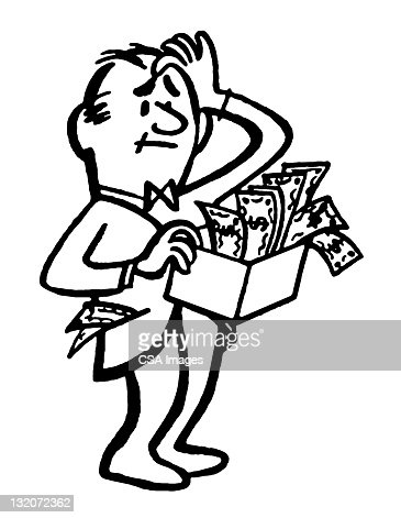 Confused Man Holding Box Of Money Stock Illustration