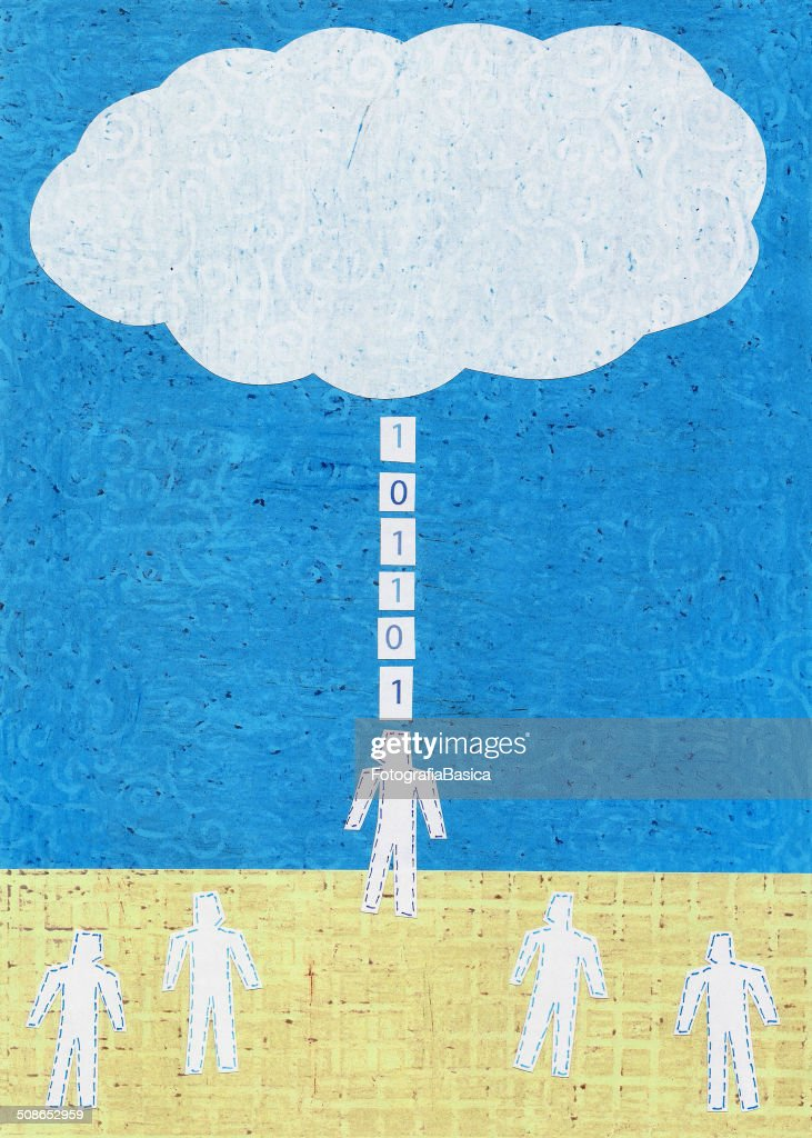 Connected to the cloud : Stock Illustration