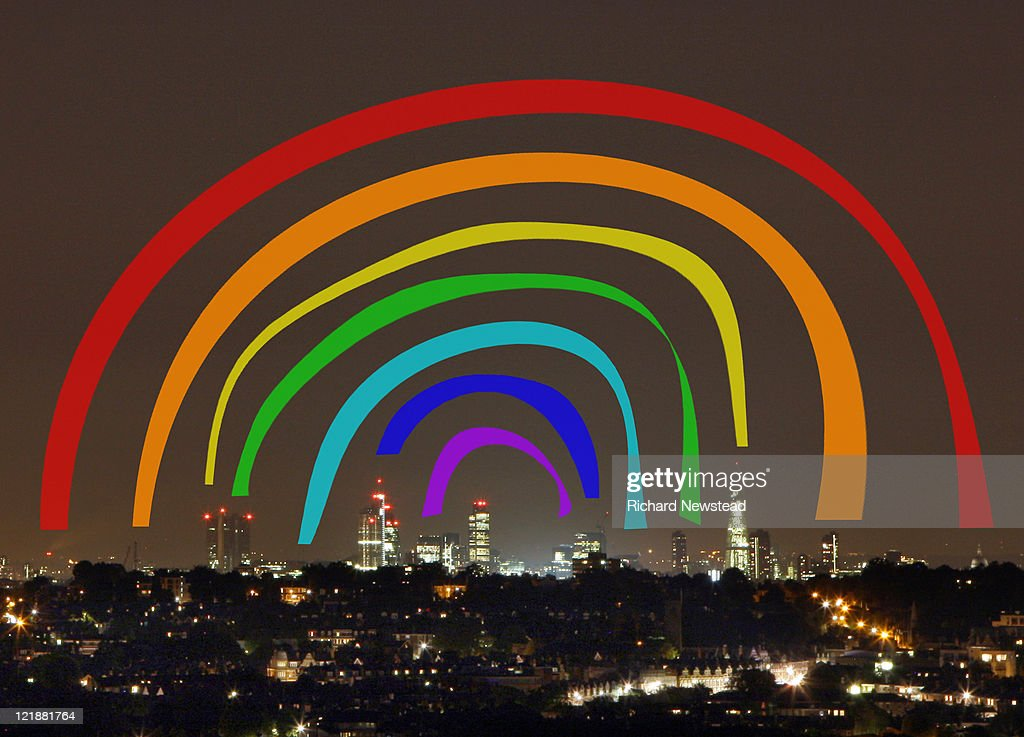 Connection rainbow over London : Stock Illustration