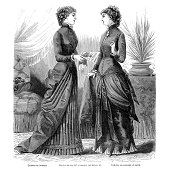 Vintage illustration from a book of my private collection: 'La mode illustrée' printed in 1882 Paris France