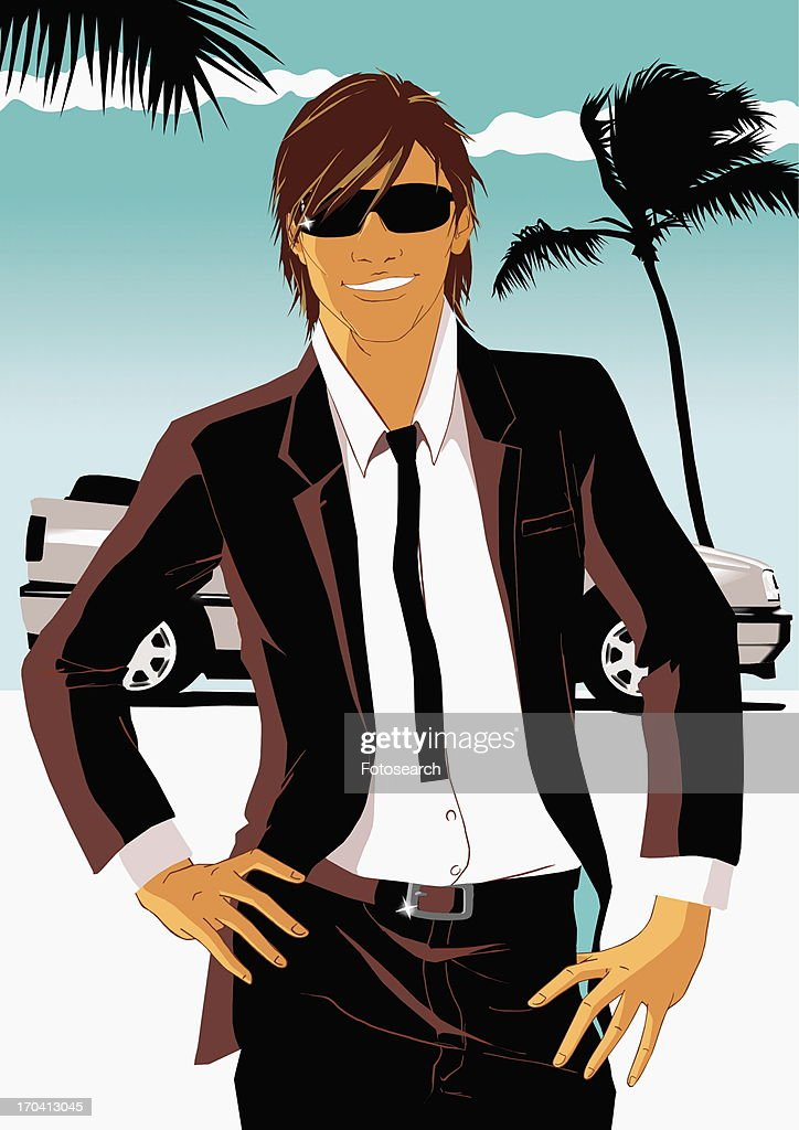 Cool looking man in suit with sporty car in the background : Stock Illustration
