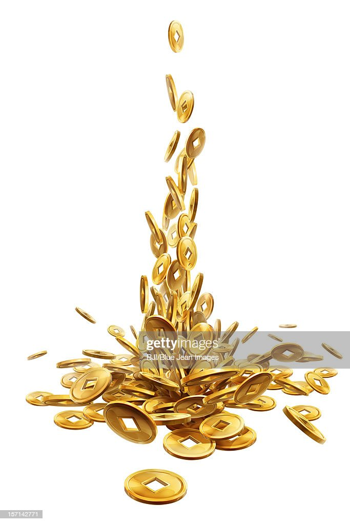 Copper coin, Chinese traditional currency : Stock Illustration