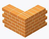 Corner of a brick wall, built in English bond bricklaying pattern