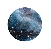 Hand drawn stylized grunge galaxy or night sky with stars. Watercolor space background. Cosmos illustration in circle isolated on white background. Brush and drops.