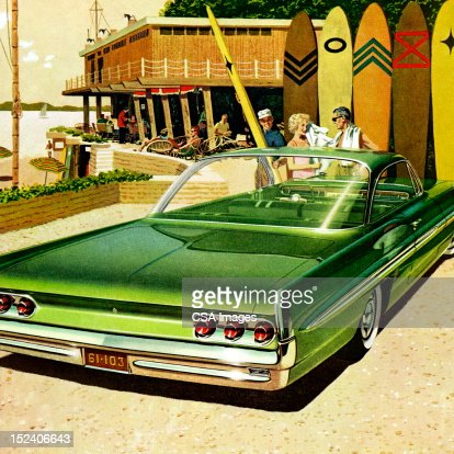 Couple at Beach in Front of Green Vintage Car : Stock Illustration