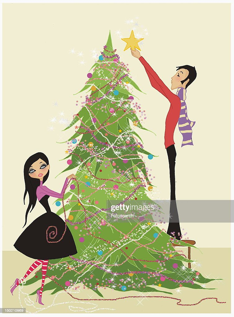 Couple decorating Christmas tree : Stock Illustration