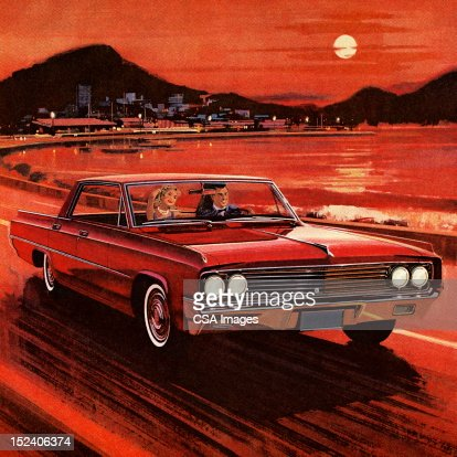 Couple Driving in Red Vintage Car : Stock Illustration