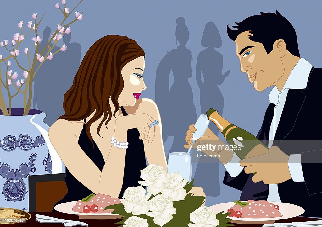 Couple eating at an Asian restaurant : Stock Illustration
