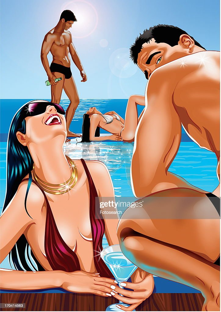Couple flirting in foreground with another couple in background by the pool : Stock Illustration