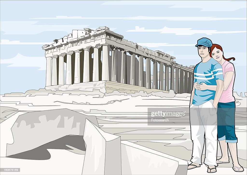 Couple hugging at the Acropolis : Stock Illustration
