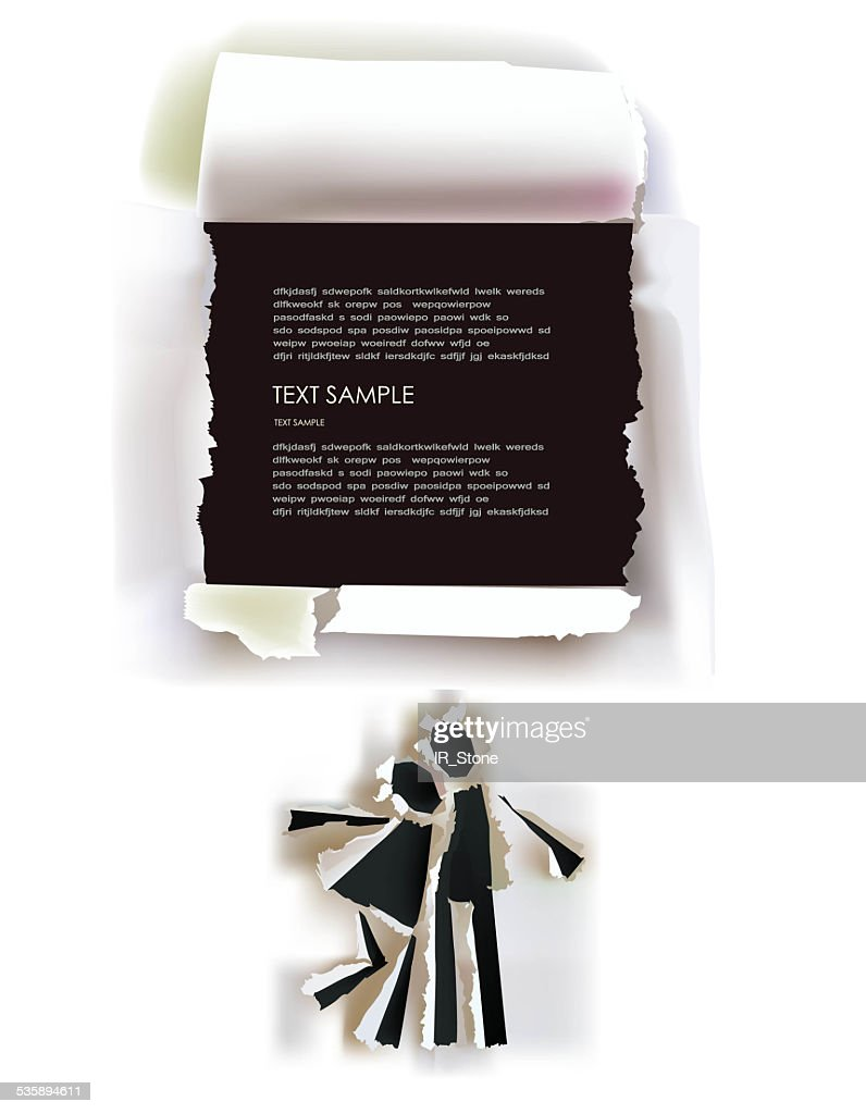 Couple in love and space for text, Ripped paper collection : Stockillustraties