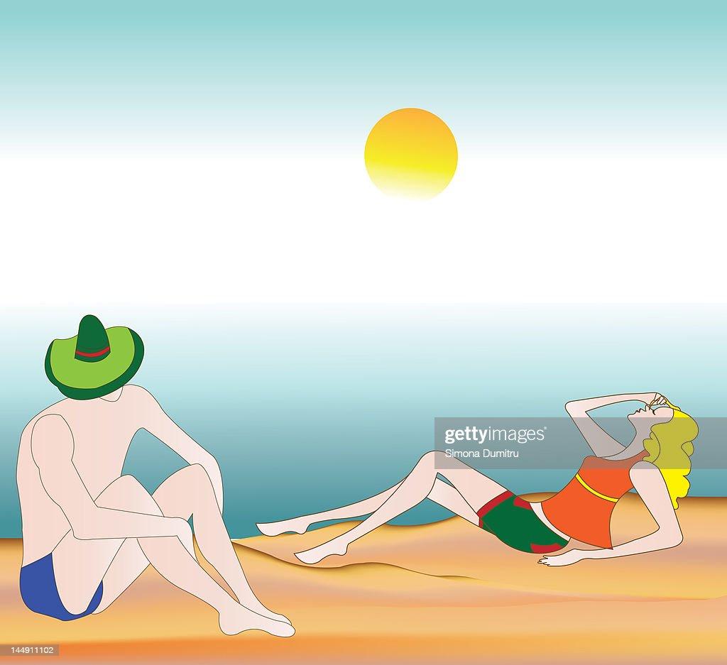 Couple on beach : Stock Illustration