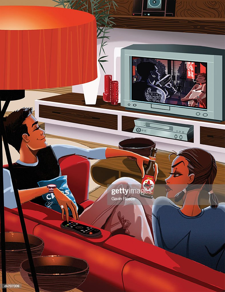 Couple Relaxing on a Sofa in Front of the Television : Stock Illustration