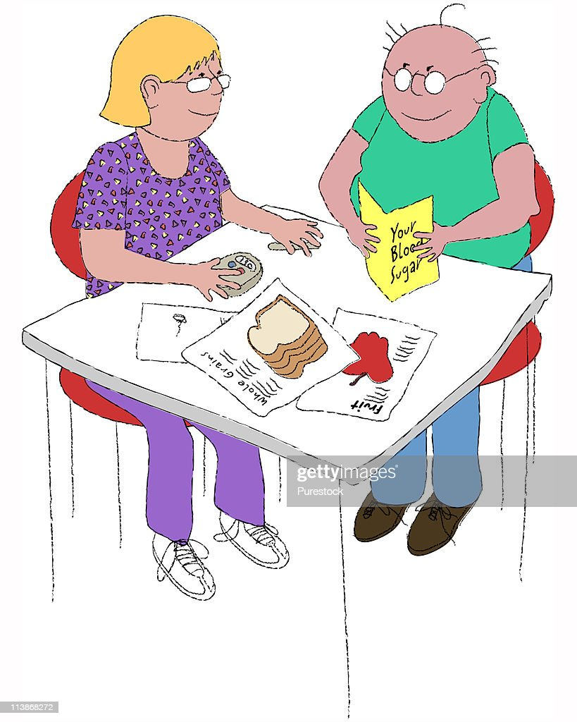 Couple sitting, woman doing blood sugar test and man reading leaflet about sugar in blood, illustration : Stock Illustration
