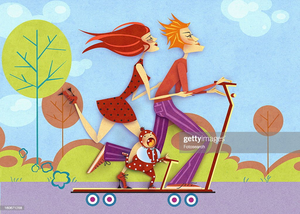 Couple skateboarding with baby : Stock Illustration