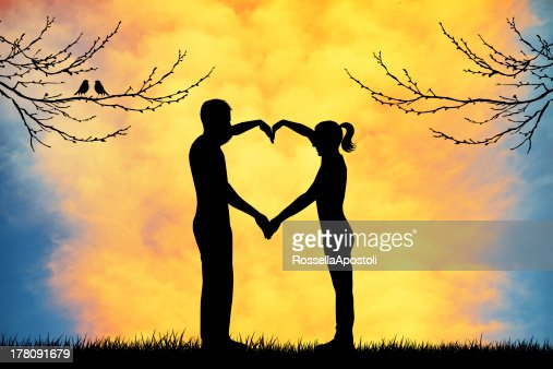 Couple with heart : Stock Illustration