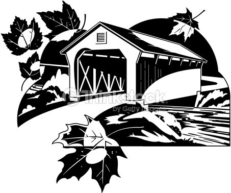 Covered Bridge Scene Also Available In Color 001x0798 A