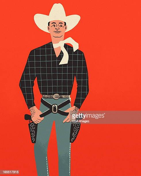 Cowboy on a Red Background