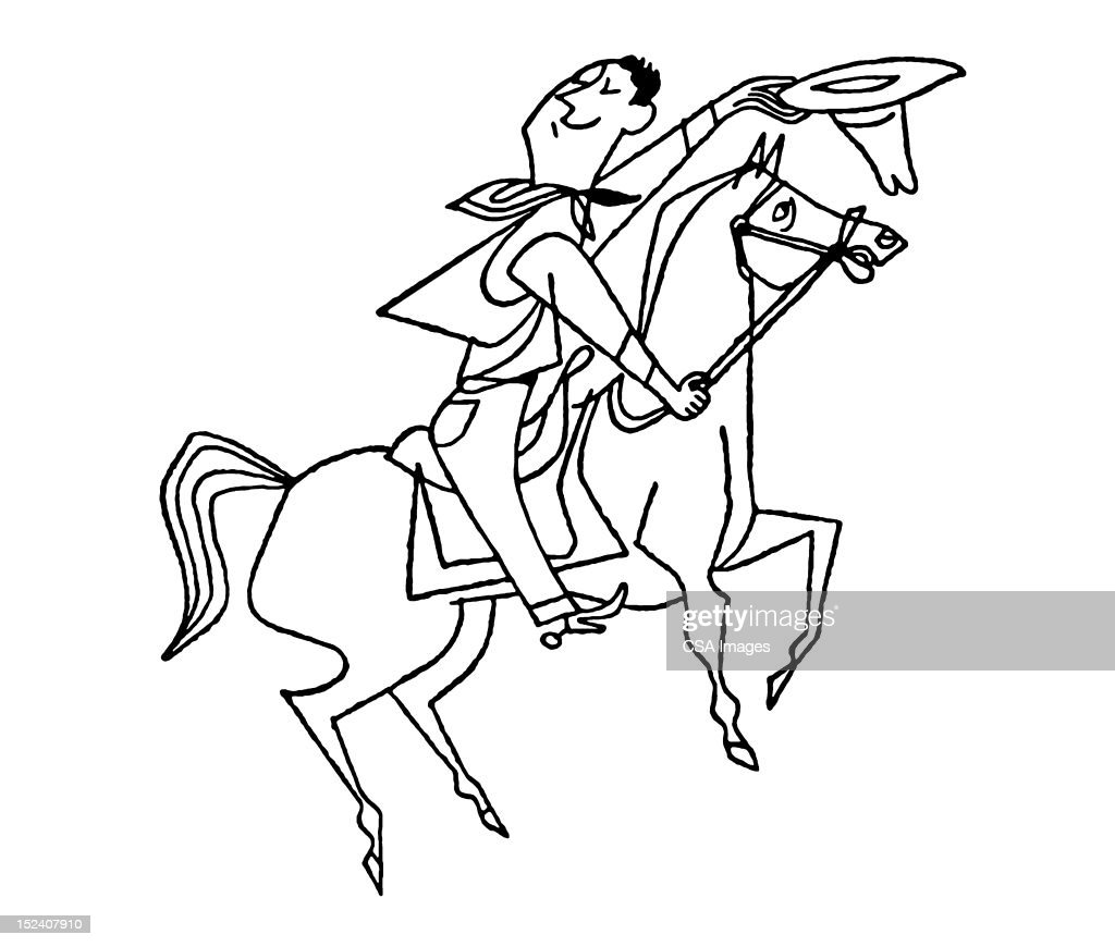 Cowboy on Horse Tipping Hat : Stock Illustration