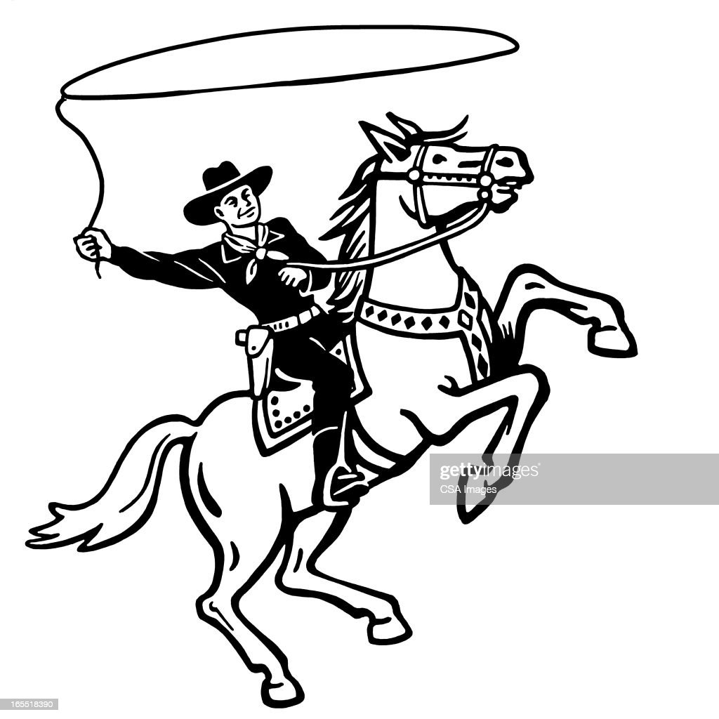 Cowboy Throwing a Lasso on a Horse : Stock Illustration