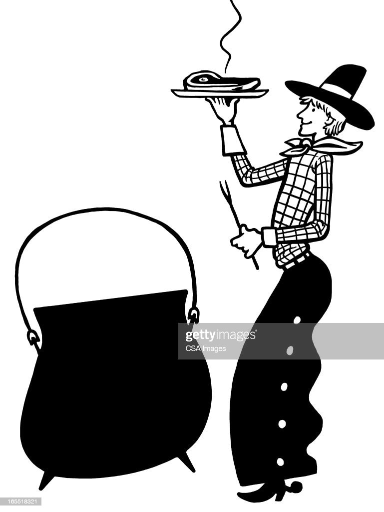 Cowboy with Steak Dinner and Kettle : Stock Illustration