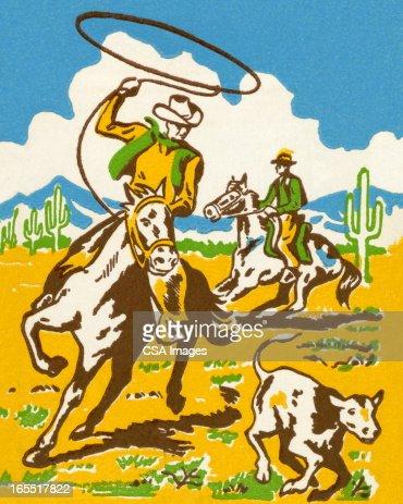 Cowboy Wrangling a Calf : Stock Illustration