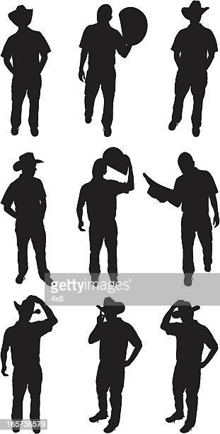 Cowboys in different postures