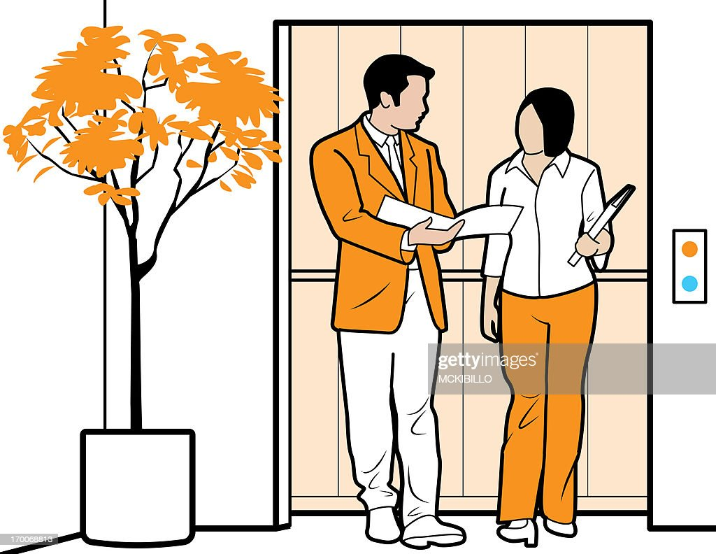 people in elevator clipart. co-workers talking in an elevator : stock illustration people clipart p