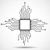 Cpu. Microprocessor. Microchip. Circuit board. Technology background