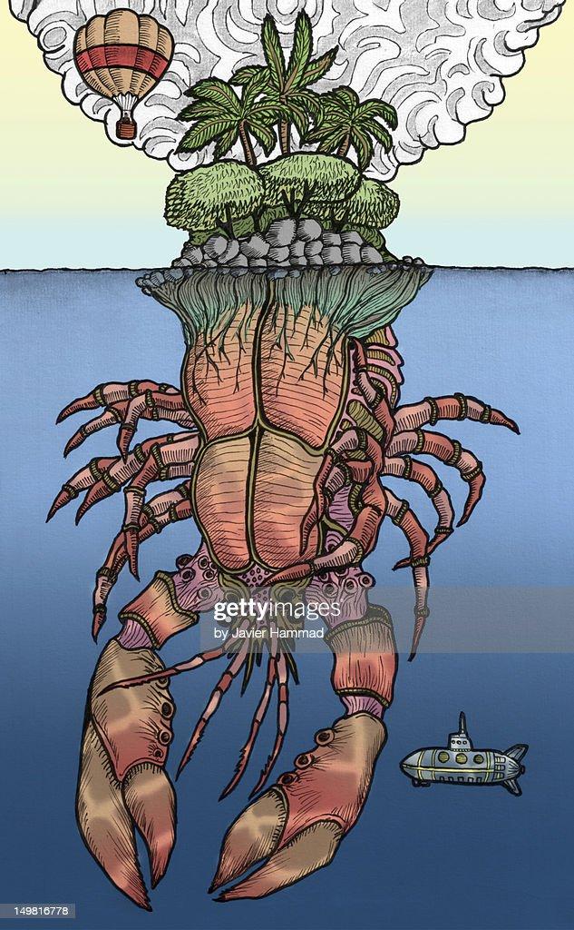 Crab island : Stock Illustration