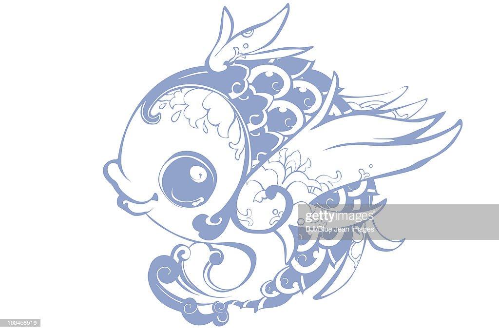 Creative flying carp : Stock Illustration