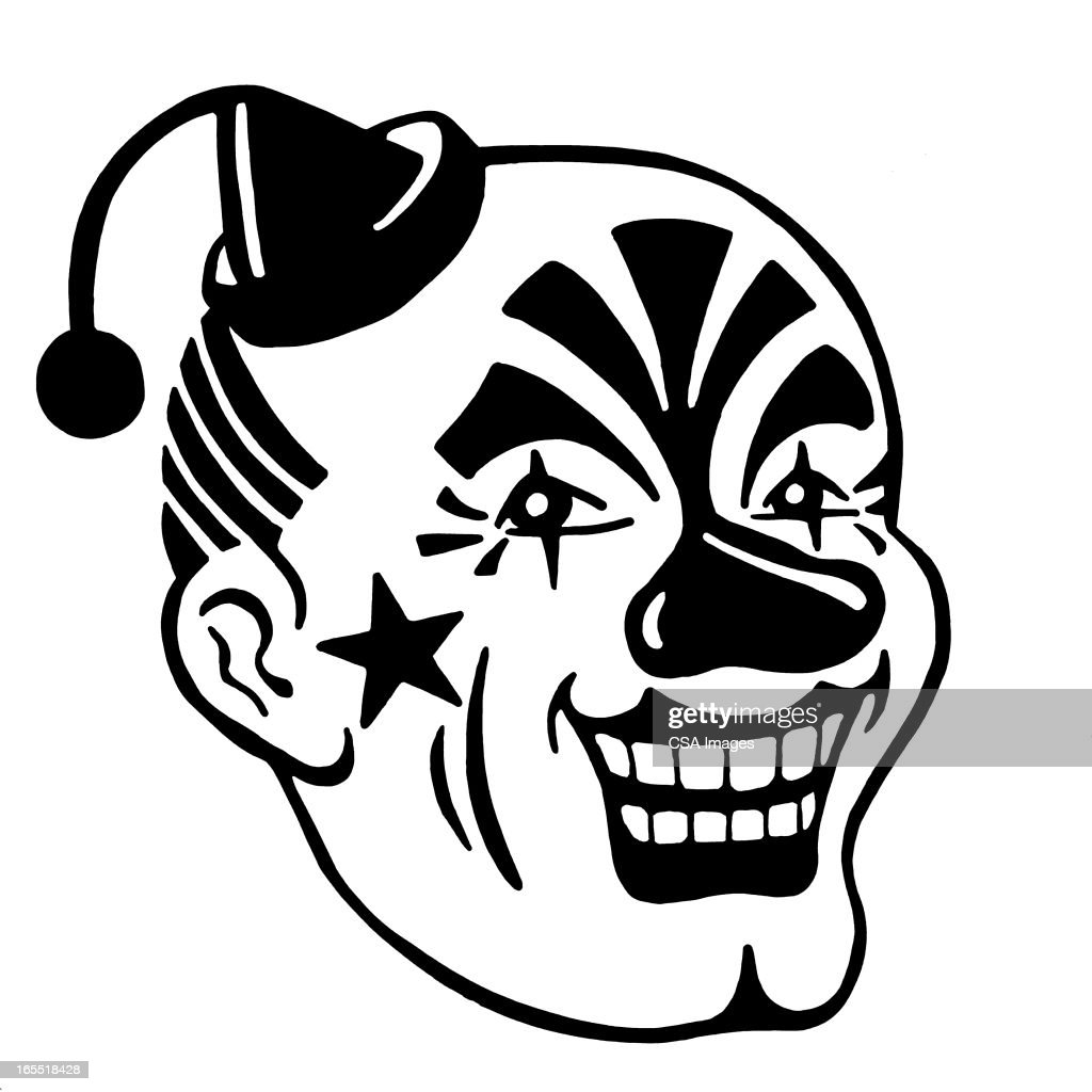 Creepy Clown Face : Stock Illustration